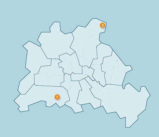 Karte mit Standorten der Intergrations-Kindertagesstätten